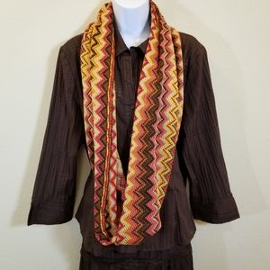 Infinity scarf woven chevron print with browns